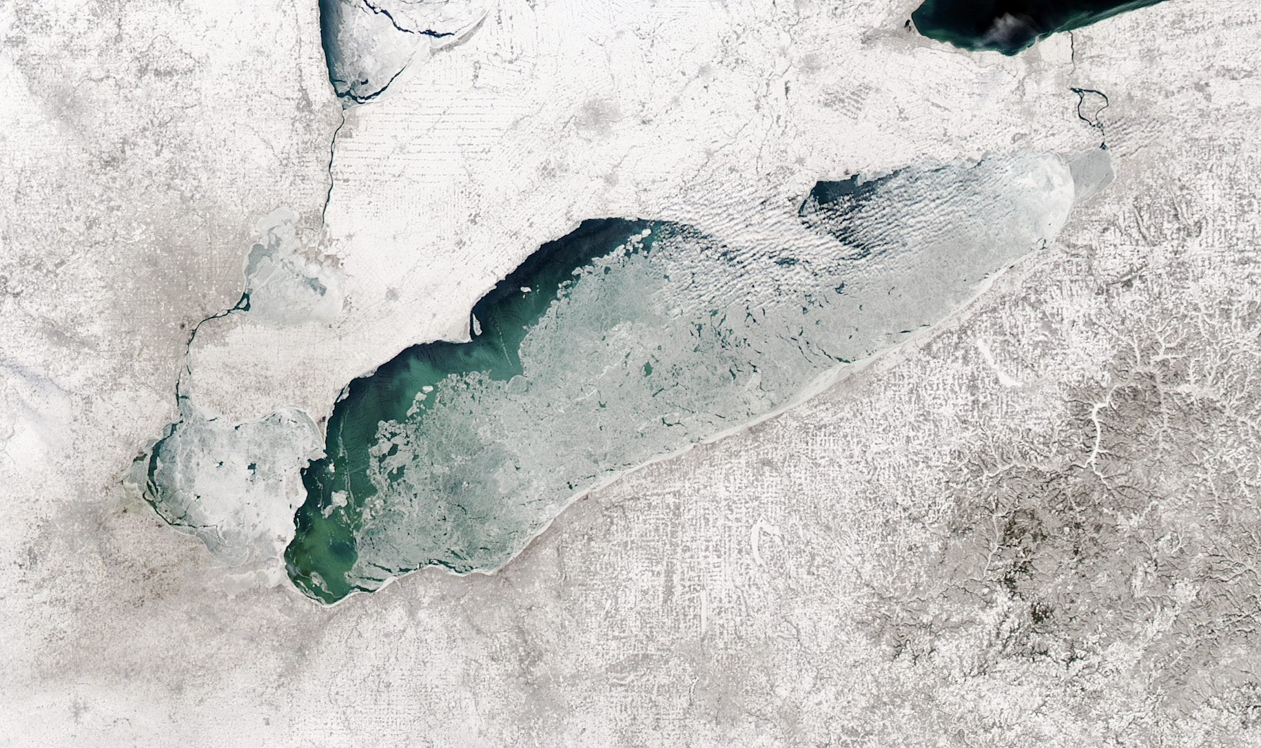 A satellite view of Lake Erie with a high ice concentration from 2003.