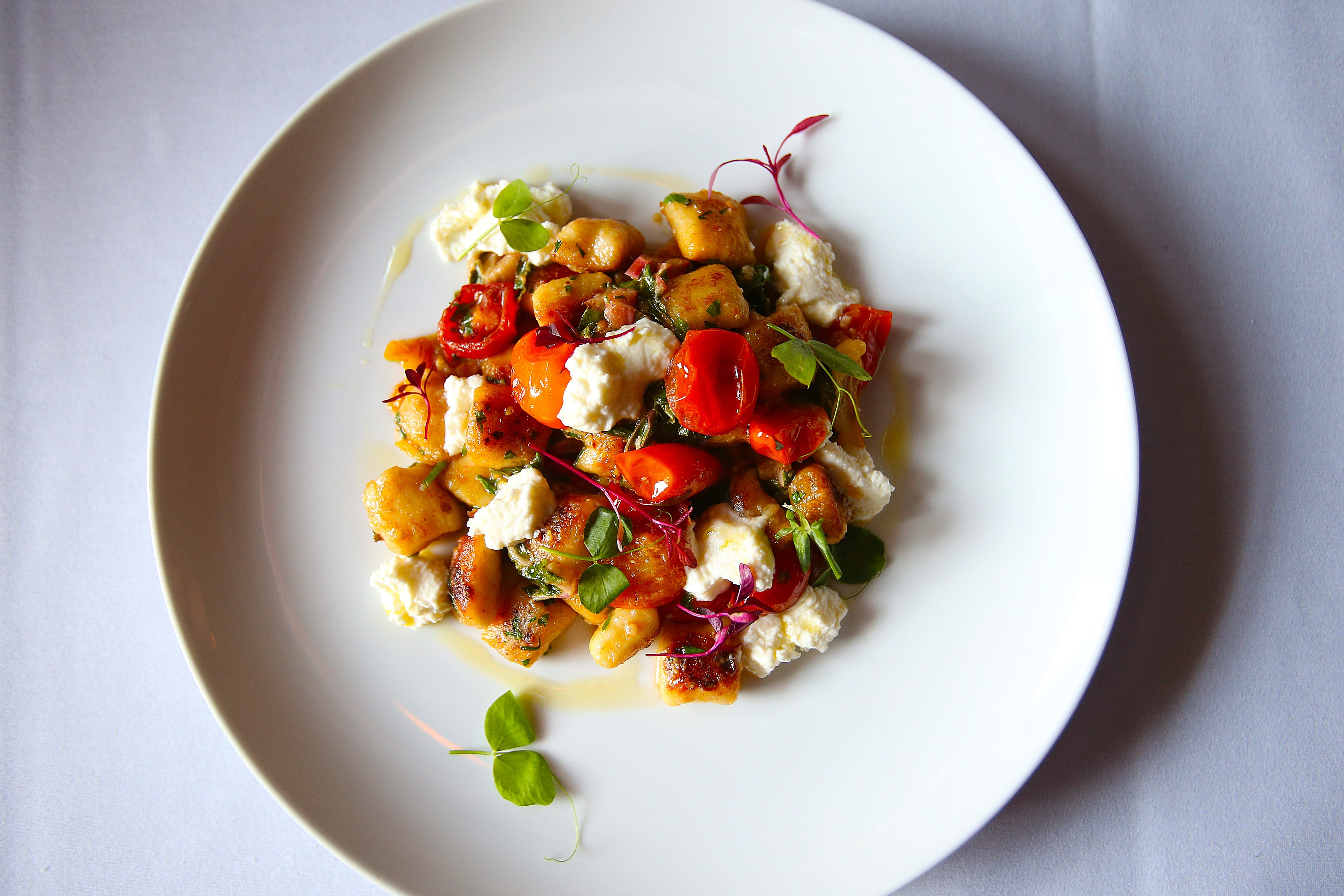 Chef Bruce Wieszala's handmade potato gnocchi, with local vegetables, homemade ricotta and fresh herbs, in the kitchen at Tabree in Snyder on Oct. 2.