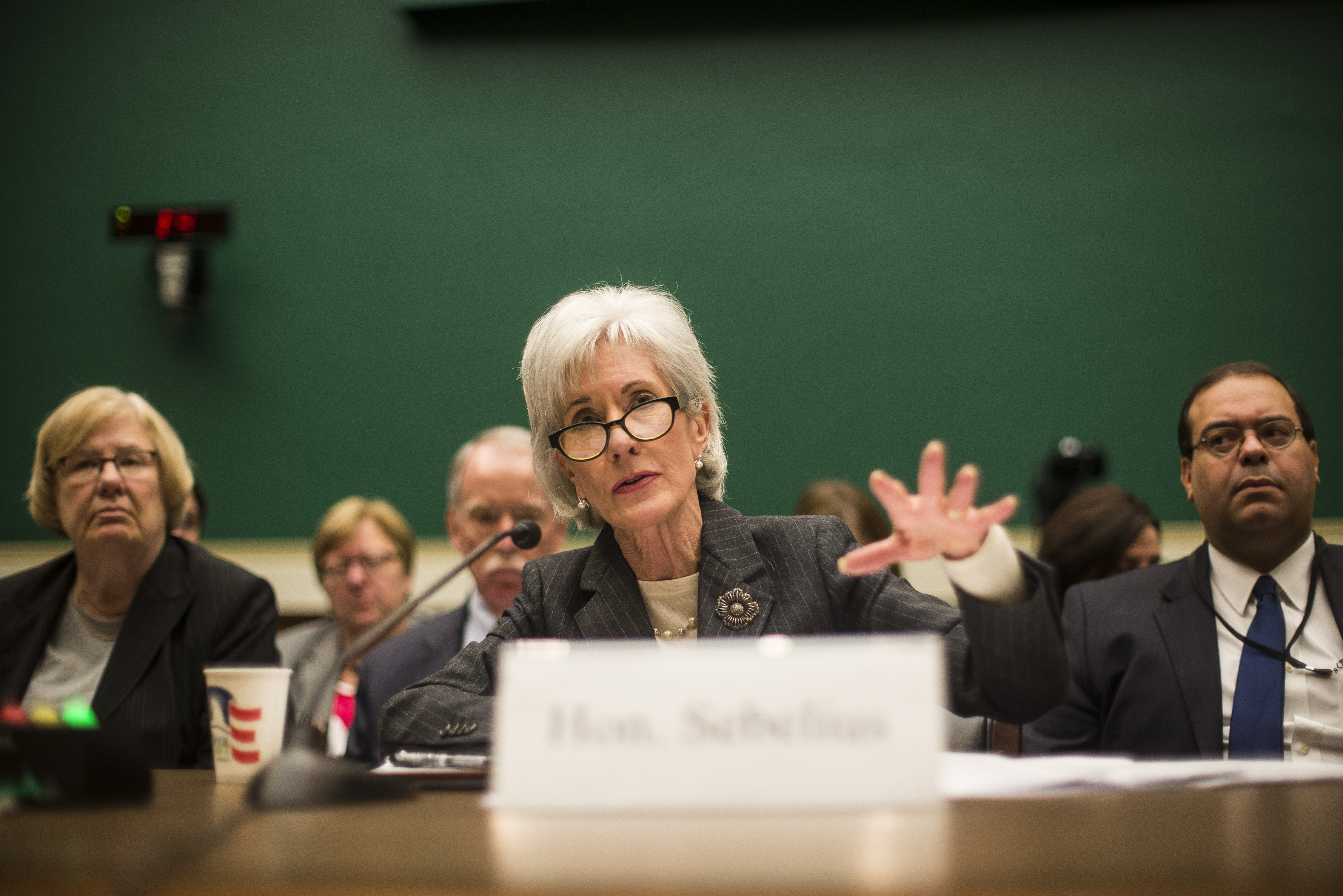 Health and Human Services Secretary Kathleen Sebelius testifies Wednesday on Capitol Hill.