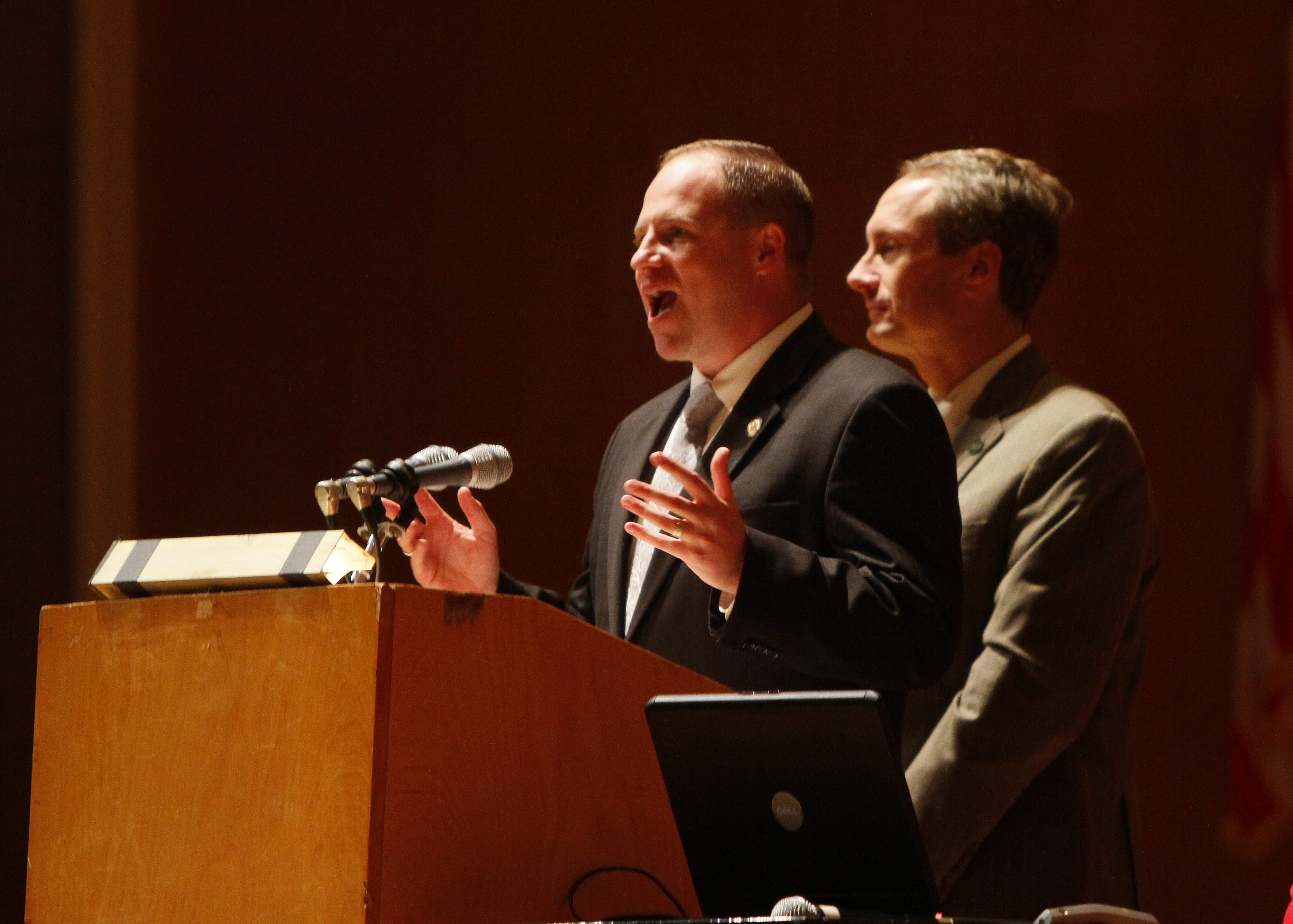 State Senator Tim Kennedy, left, and State Assemblyman Sean Ryan. right, speak to a crowd of parents and teachers during a Summit for Smarter Schools at Kleinhans in Buffalo on Oct. 2, 2013.