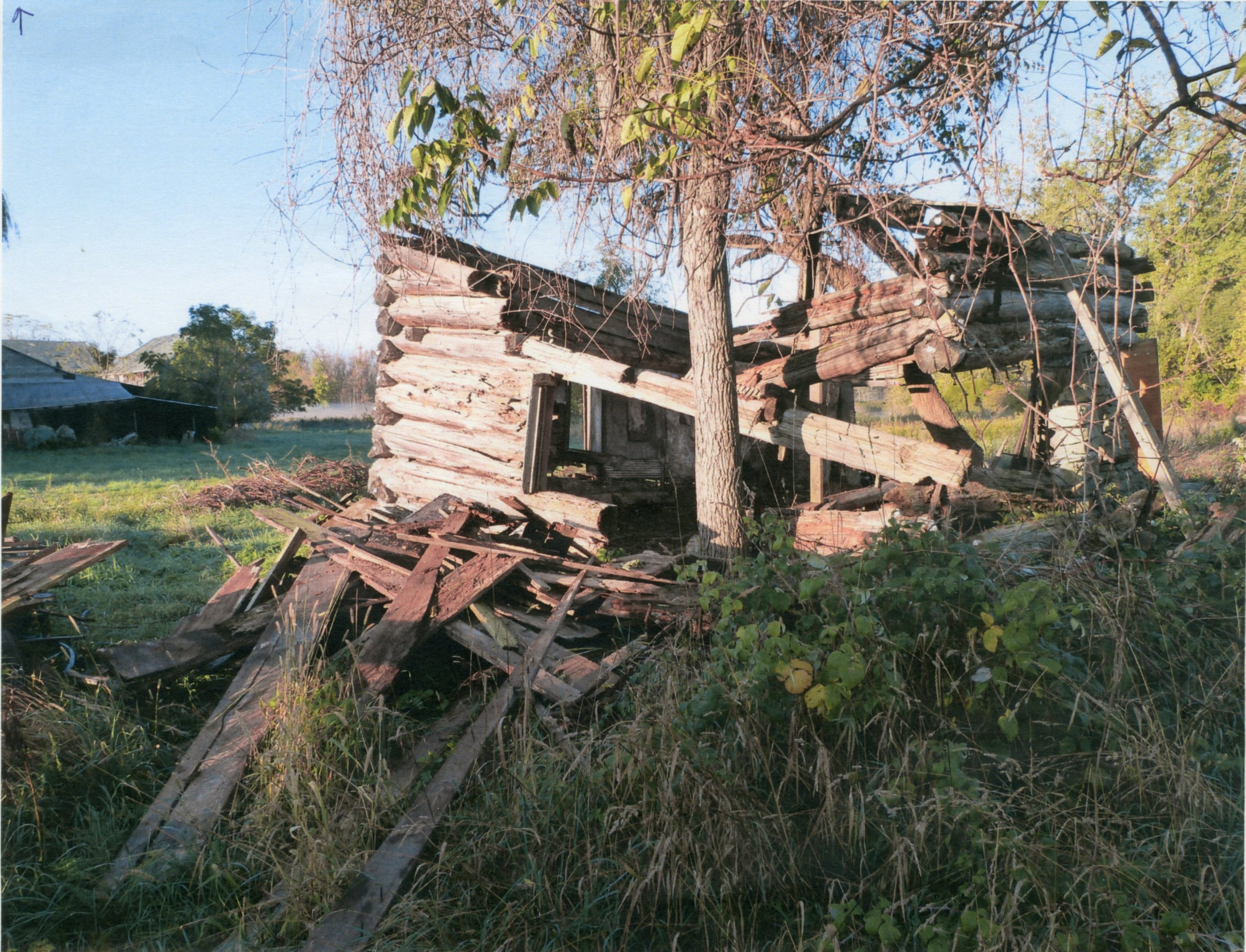 The remains of the Gipple cabin in Lancaster.
