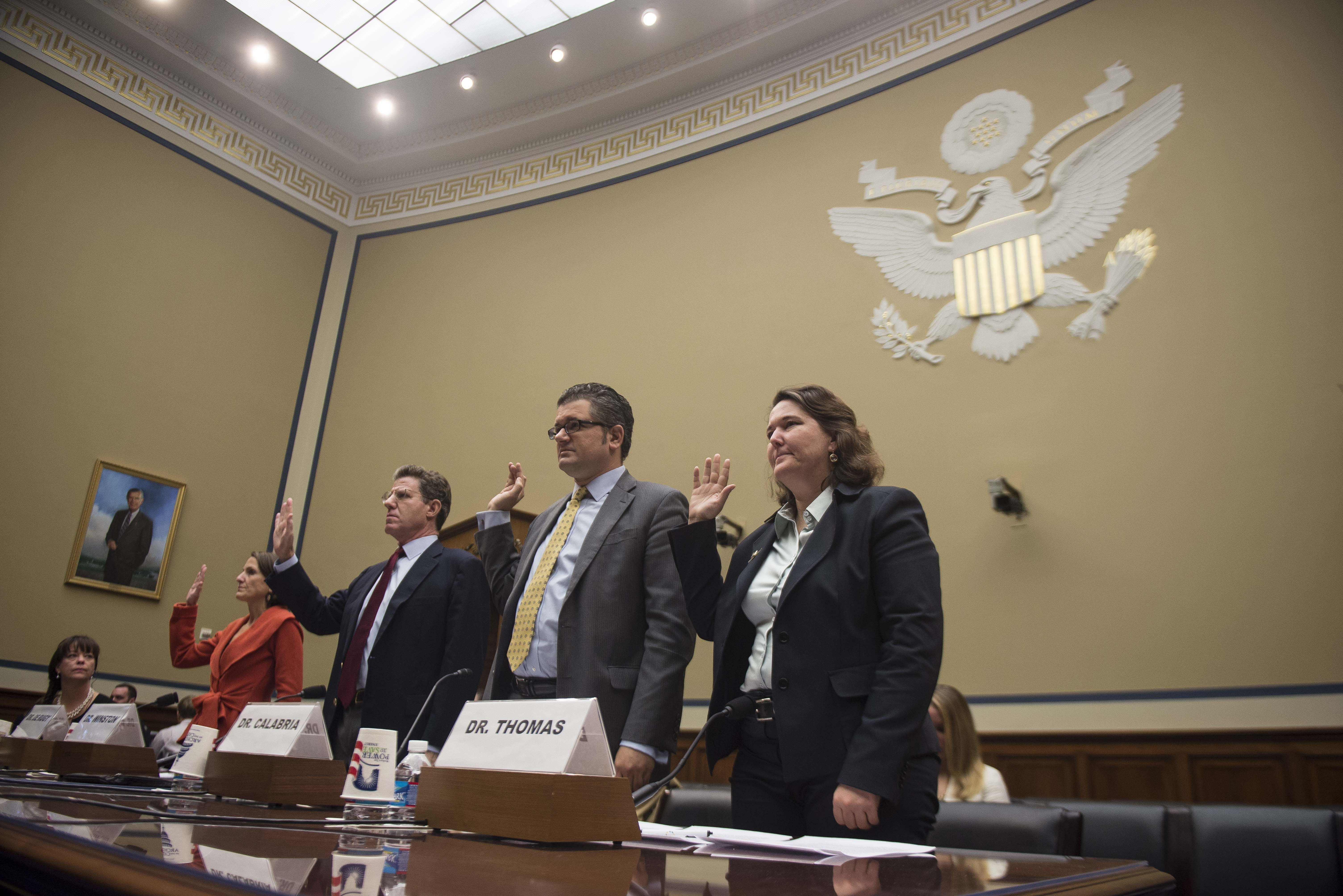 Witnesses from research centers and think tanks are sworn in at House Oversight and Government Reform Committee hearing on health law.
