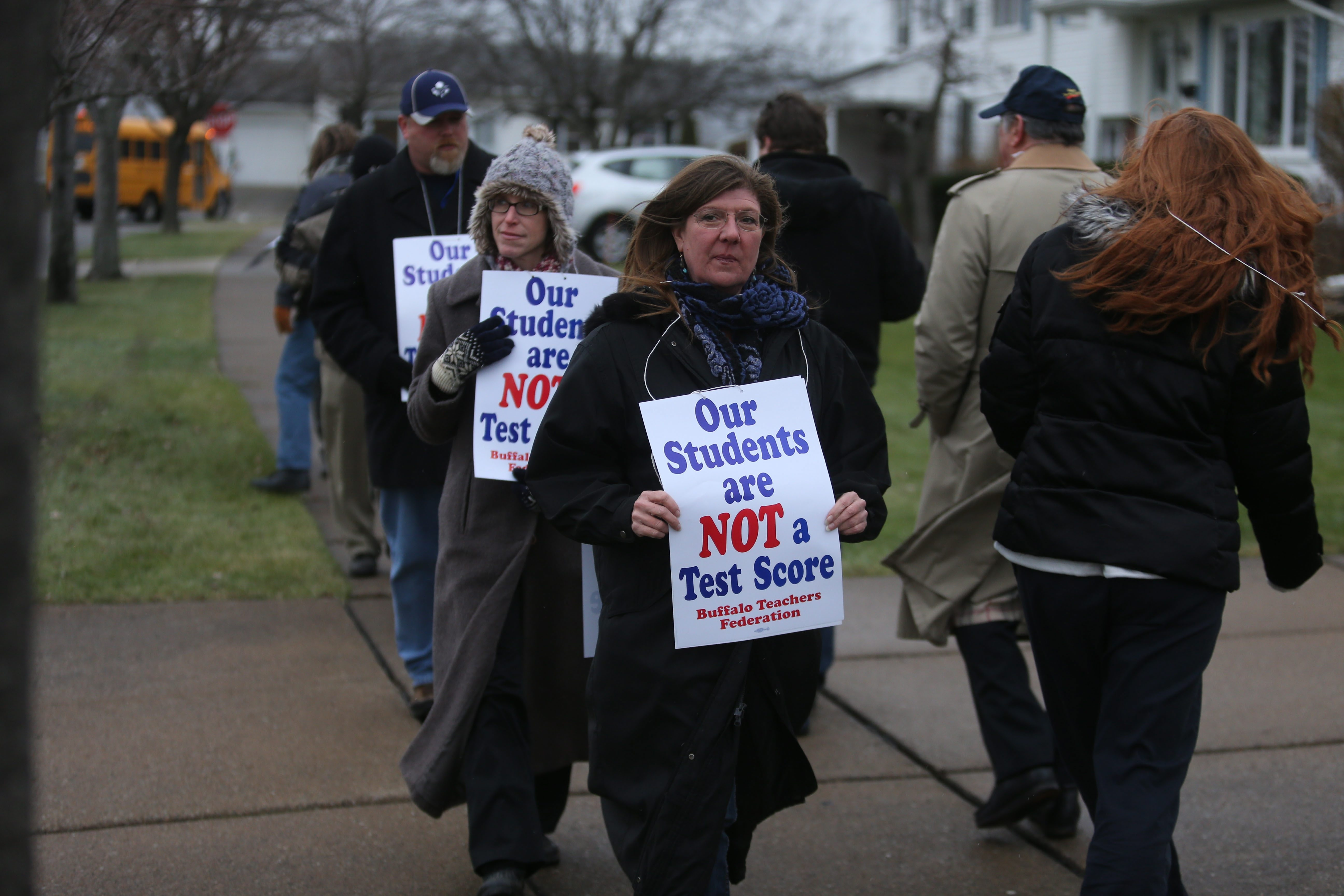 """Buffalo Teachers Federation """"Day of Action"""" picketing against state education policies targets home of Regent Robert M. Bennett."""