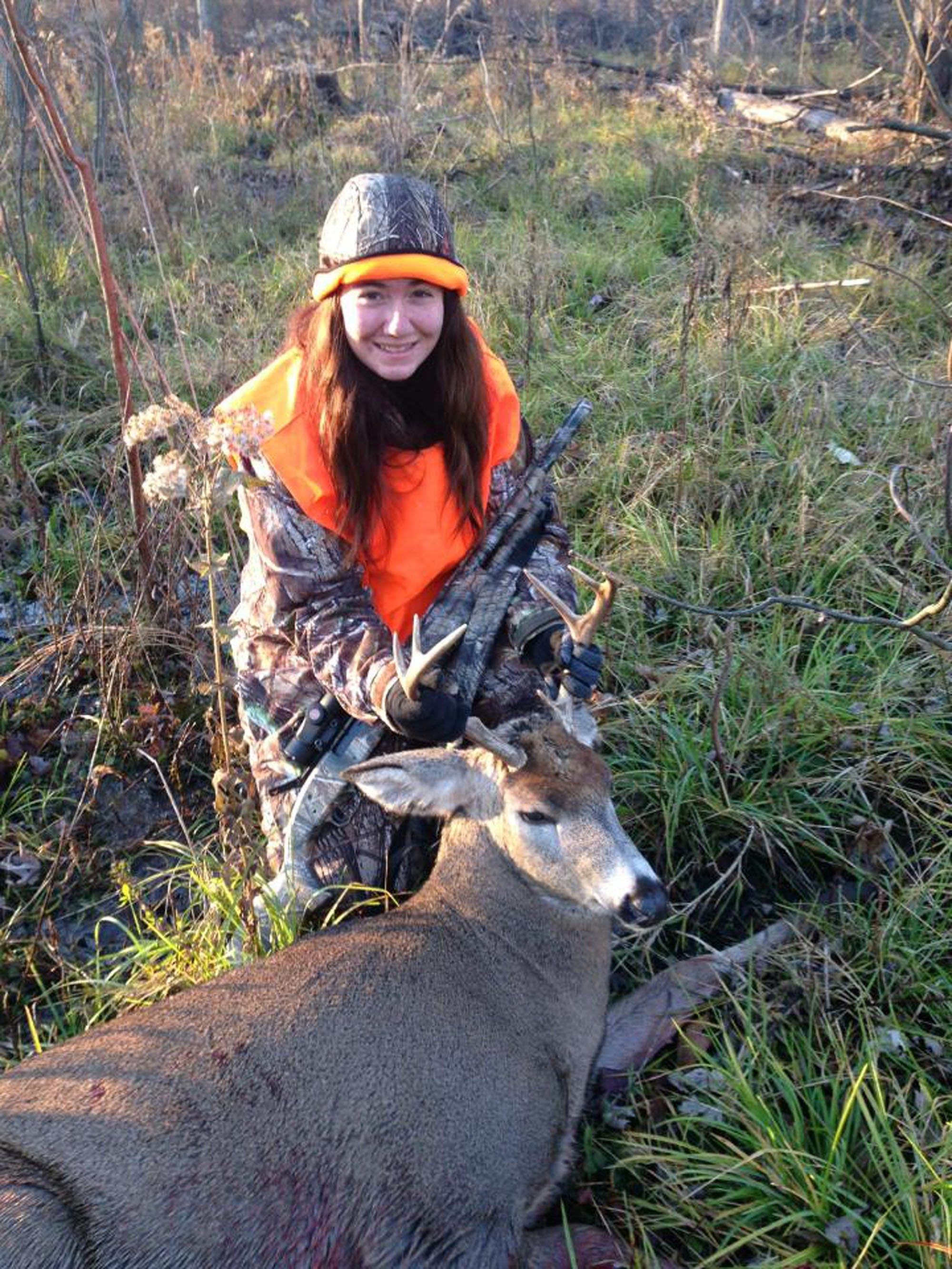 Tracy Johnston passed on a smaller buck to take her first deer on the first day of gun season, a nice seven-pointer.