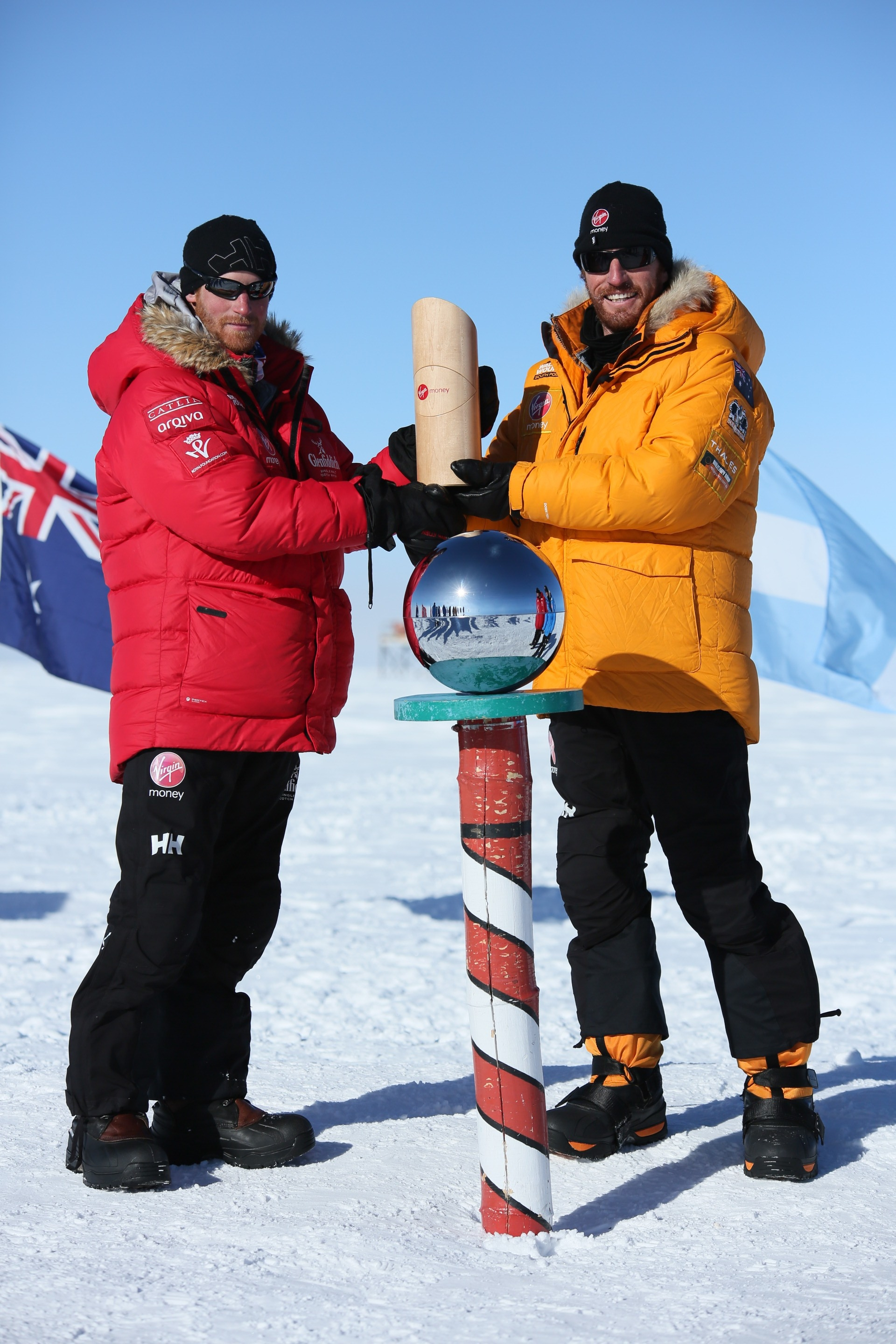Britain's Prince Harry, left, and Heath Jamieson completed the Walking With the Wounded challenge.
