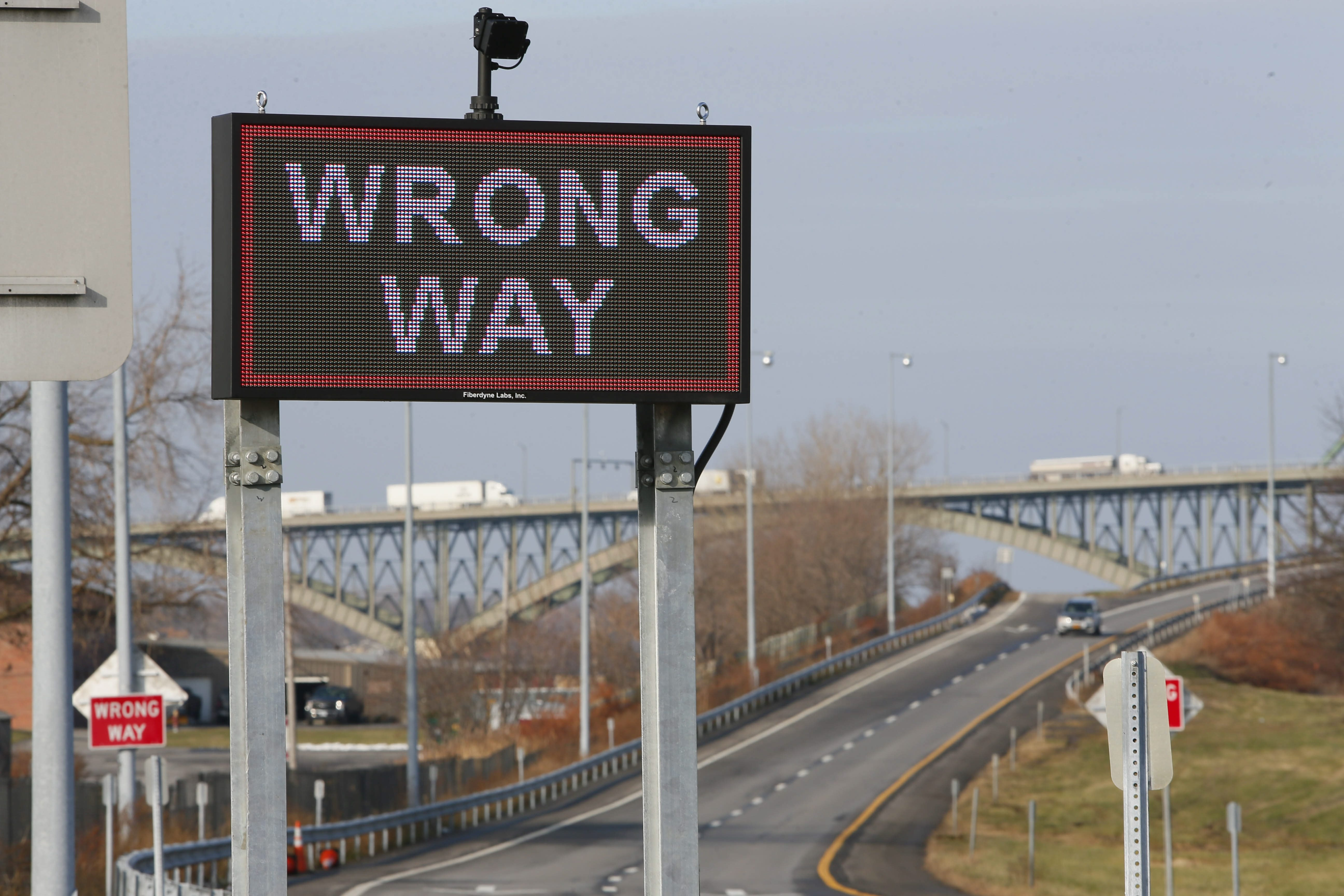 A new flashing sign warns drivers heading the wrong way onto the exit from the southbound I-190 at Porter Avenue in Buffalo.