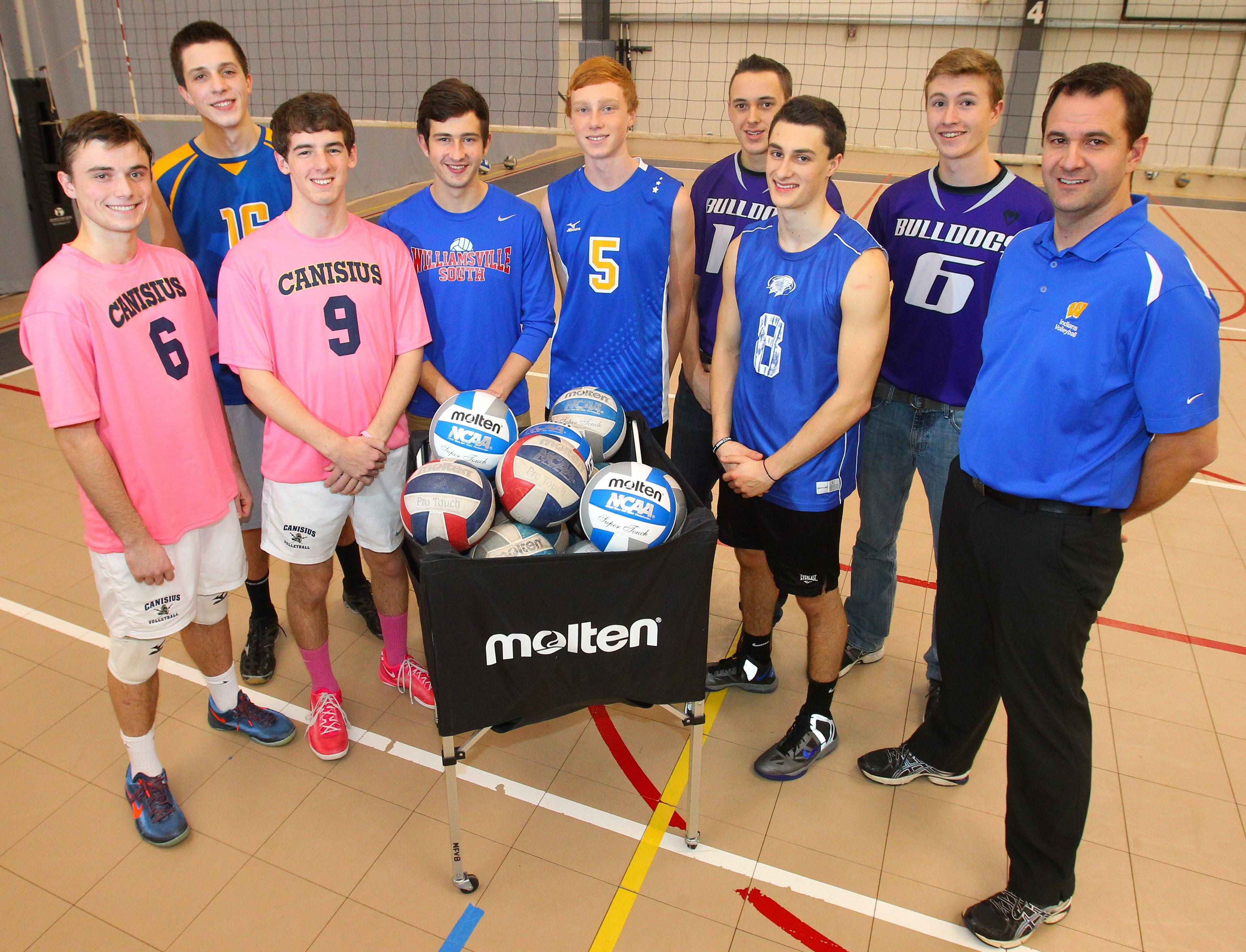Members of the All-WNY boys volleyball team are (from left): Trevor Gooch, Canisius; Jason Donorovich, Lockport; Brian Costello, Canisius; Anthony Podgorsak, Williamsville South; Evan Koehler, West Seneca West; Zach Yerington, Hamburg; Dylan Durni, Frontier; Patrick Stroh, Hamburg; and 2013 Coach of the Year Brett Widman, West Seneca West.