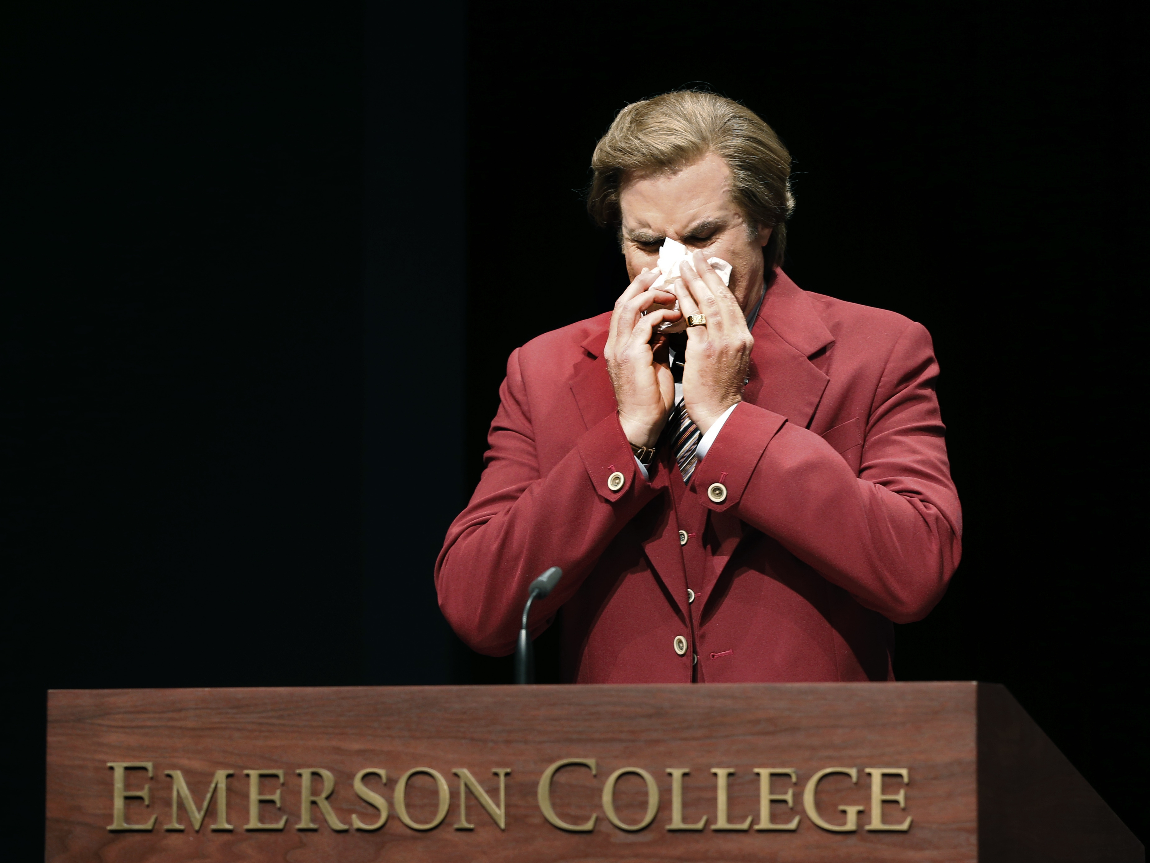 Will Ferrel blows his nose Thursday at Emerson College, which honored his character Ron Burgundy for a day.