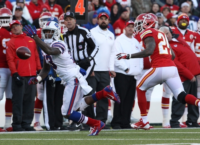 Bills receiver Stevie Johnson can't make a catch in front of Chiefs cornerback Brandon Flowers in the fourth quarter. (James P. McCoy/Buffalo News)