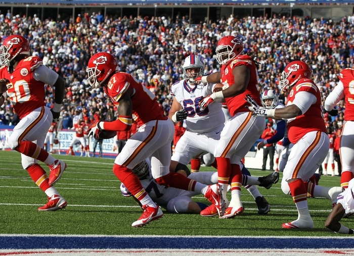 Chiefs cornerback Sean Smith intercepts a Jeff Tuel pass and returns it for a 100-yard touchdown in the third quarter, the play that erased the Bills' chances for an upset. (James P. McCoy/Buffalo News)