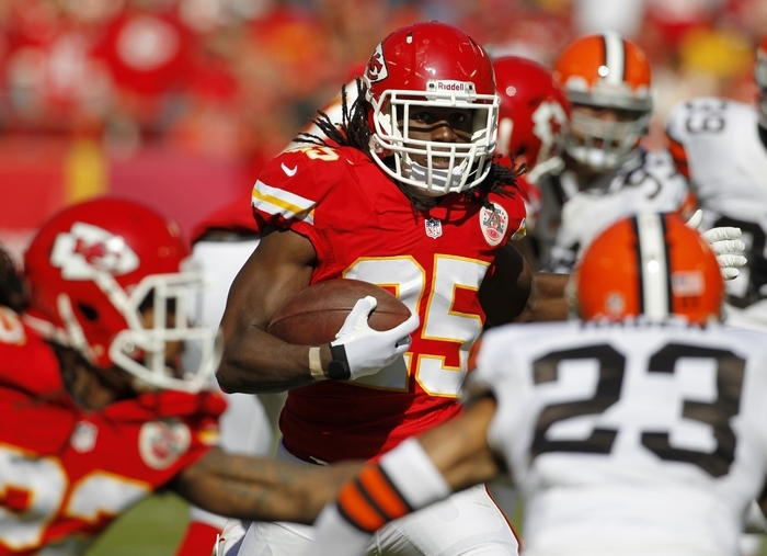 ADVANCE FOR WEEKEND, NOV. 16-17 – In this Oct. 27, 2013, photo, Kansas City Chiefs running back Jamaal Charles (25) carries against the Cleveland Browns during an NFL football game at Arrowhead Stadium in Kansas City, Mo. If the Chiefs are going to win against the Denver Broncos on Sunday, it would figure Charles will have a(nother) big game. He leads the Chiefs in both yards rushing (725) and receiving (389).  (AP Photo/Colin E. Braley)