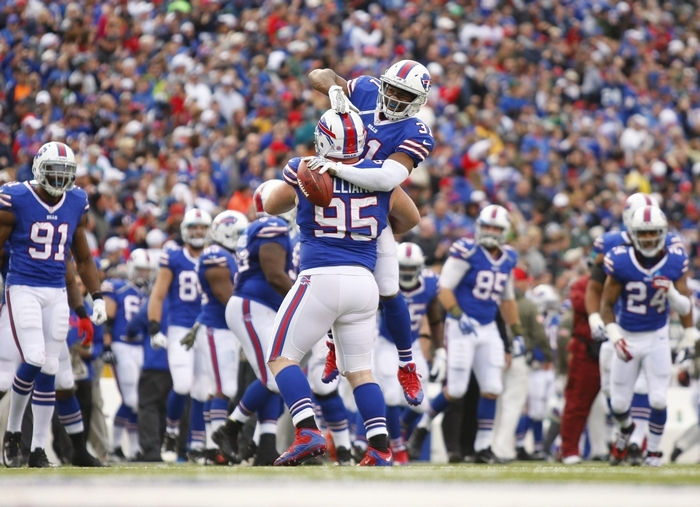 Harry Scull Jr./Buffalo NewsBuffalo Bills safety Jairus Byrd celebrates his second interception with Kyle Williams.