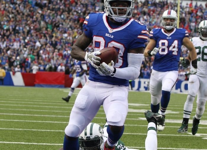 Bills wide receiver Marquise Goodwin blows past New York Jets cornerback Antonio Cromartie in the third quarter to score a 43-yard touchdown. (James P. McCoy/Buffalo News)