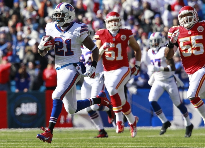 An illegal block wiped out an 83-yard Leodis McKelvin touchdown on a kickoff return against the Chiefs on Nov. 3. Kickoff returns have been few and far between this season. (Harry Scull Jr./Buffalo News)