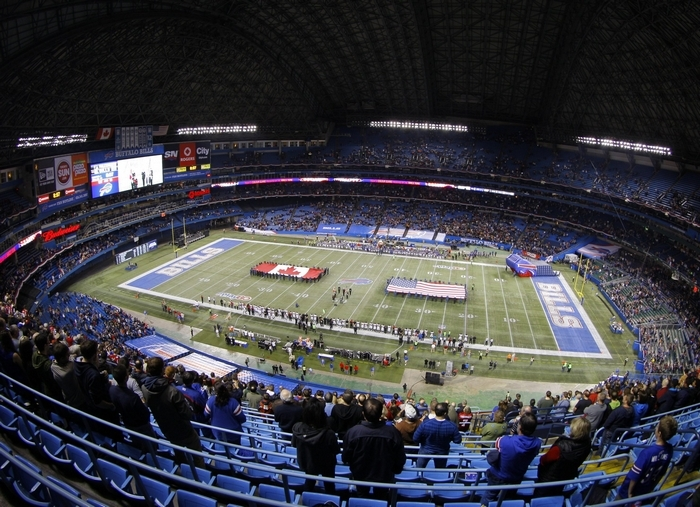 There were plenty of good seats available in the Rogers Centre in Toronto when the Bills took the field to play the Atlanta Falcons on Sunday. (James P. McCoy/Buffalo News)