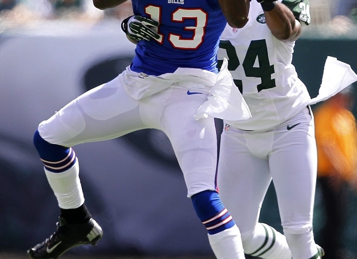 Stevie Johnson had several battles against Darrelle Revis when the All-Pro cornerback played for the Jets. (Getty Images)