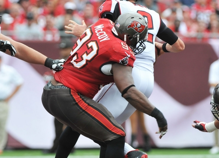 Tampa Bay defensive tackle Gerald McCoy sacks Atlanta's Matt Ryan on Nov. 17. McCoy has turned into a terror for opposing offensive lines. (Getty Images)