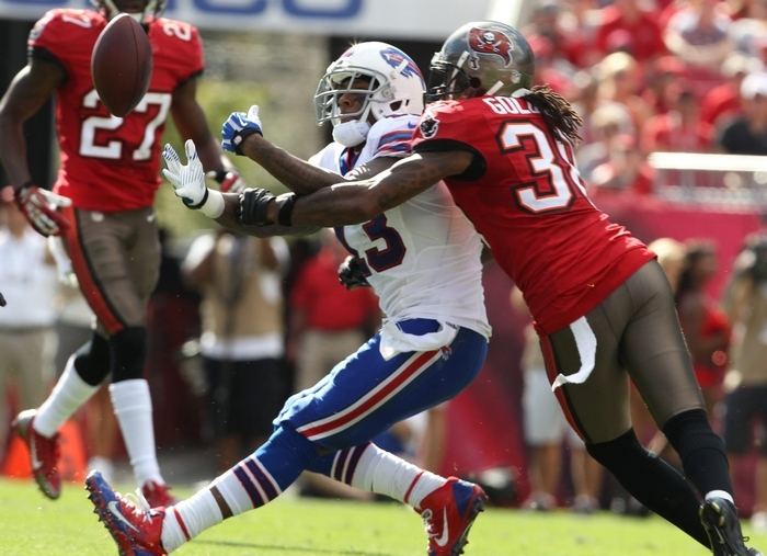 Stevie Johnson drops a pass during Sunday's game while being defended by Tampa Bay's Dashon Goldson.  (James P. McCoy/ Buffalo News)
