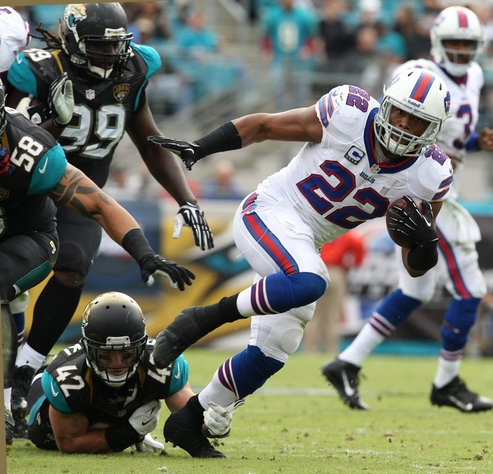 Fred Jackson (22) of the Bills runs for a first down in the second quarter.