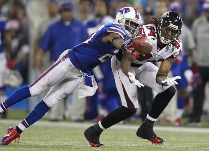 Bills cornerback Leodis McKelvin, breaking up a pass to Atlanta's Roddy White, has improved his ability to play the ball. (Harry Scull Jr./Buffalo News)