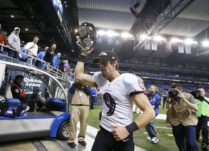 Baltimore's Justin Tucker leaves Ford Field after his 61-yard field goal beat Detroit on Monday. (Associated Press)