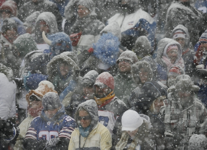 Fans sit in the stands in a snow storm in the second quarter at Ralph Wilson Stadium on Jan. 3, 2010.