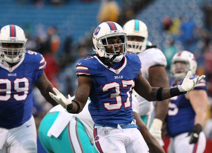 Bills defensive back Nickell Robey was feeling good after a fourth-quarter sack of Dolphins quarterback Ryan Tannehill. (James P. McCoy/Buffalo News)