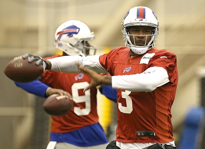 Although EJ Manuel took part in the team's workout in the fieldhouse Tuesday, his status for Sunday is uncertain. (Robert Kirkham/Buffalo News)