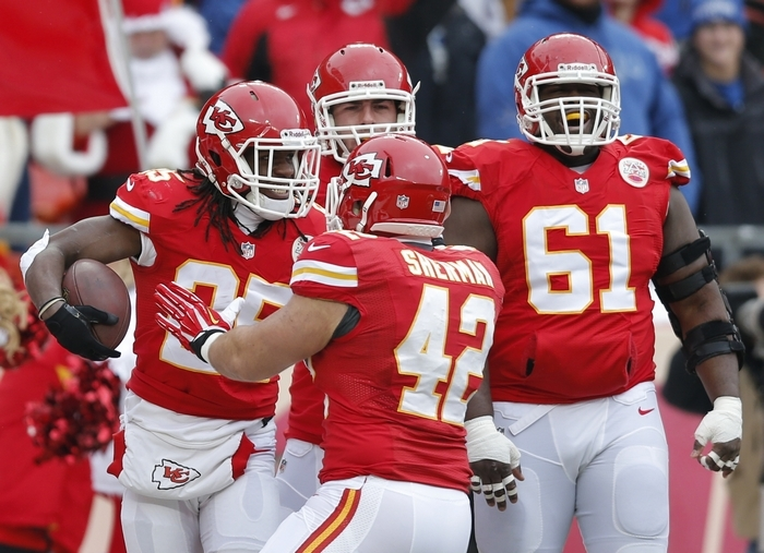 Kansas City Chiefs running back Jamaal Charles (25) is the early favorite to be the top selection in fantasy football leagues next season based on his age and production this year. (Associated Press)