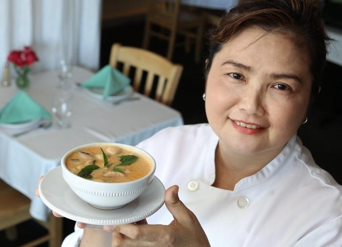 Chef Maneewan Saiprasert displays her Tom kha soup. (Sharon Cantillon/Buffalo News)
