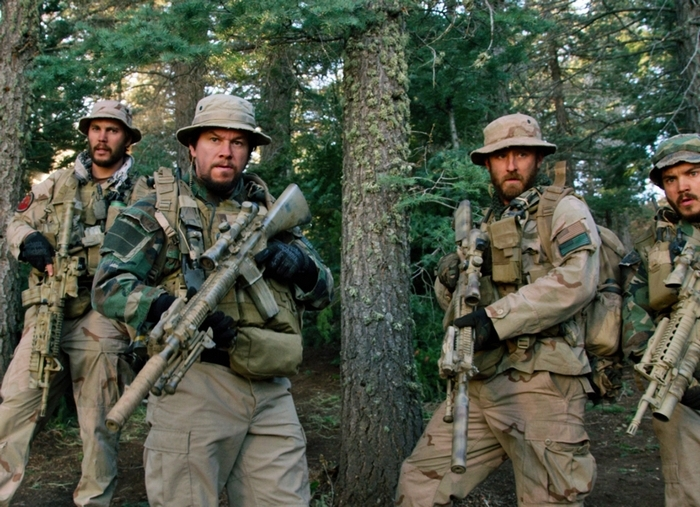 """From left, Taylor Kitsch, as Michael Murphy, Mark Wahlberg as Marcus Luttrell, Ben Foster as Matt Axelson, and Emile Hirsch as Danny Dietz in a scene from the film, ìLone Survivor."""""""