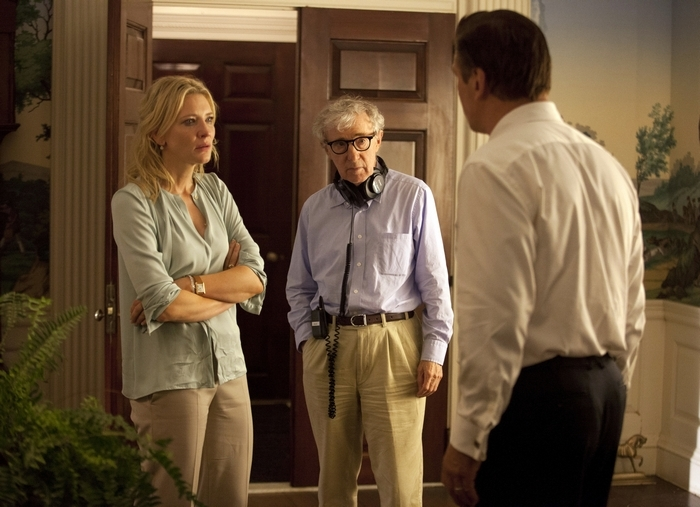 "Actress Cate Blanchett and director Woody Allen on the set of ""Blue Jasmine."""