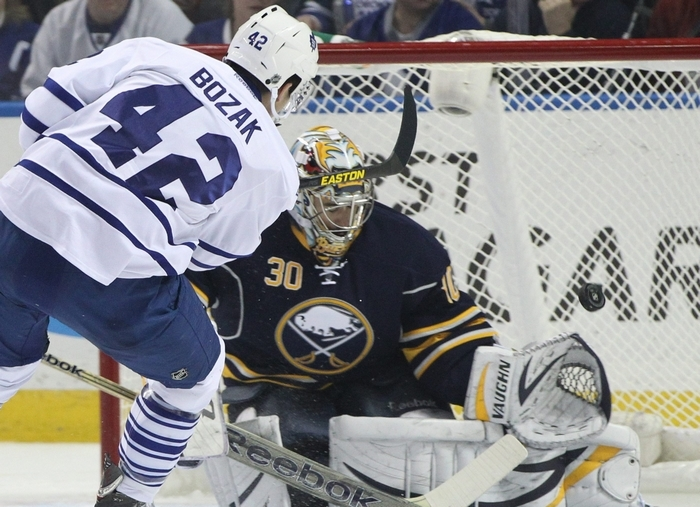 Sabres goalie Ryan Miller (30) figures to be in the mix when the United States picks its team for the upcoming Olympic games. (James P. McCoy / Buffalo News)