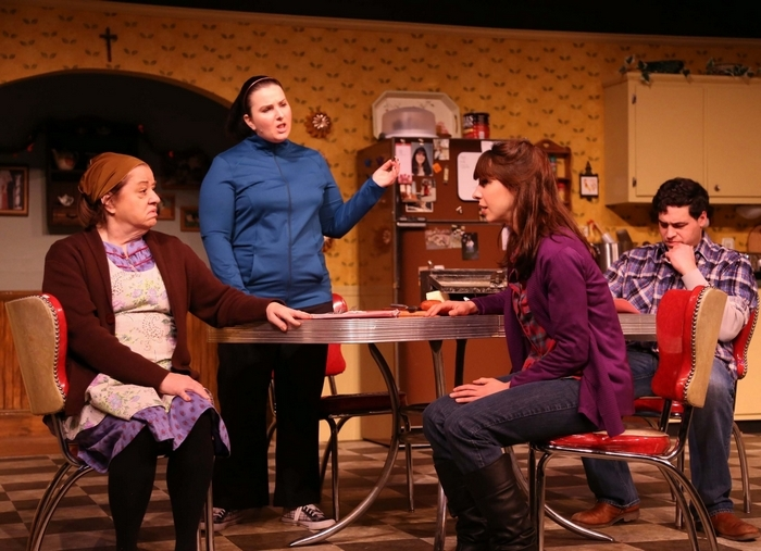 """Ellen Horst, Charmagne Chi, Bonnie Jean Taylor and Ben Puglisi are featured in the Kavinoky Theatre's production of Tom Dudzick's play """"Miracle on South Division Street."""""""