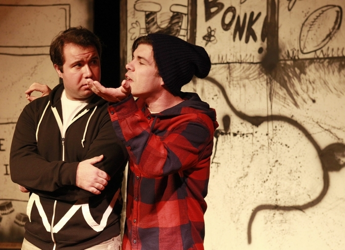 """CB (Jacob Albarella)and Van,(Eric Mowery)(red top) rehearse for """"Dog Sees God"""" at ALT Theatre on. Monday, Nov. 4, 2013.(Harry Scull Jr./Buffalo News)"""