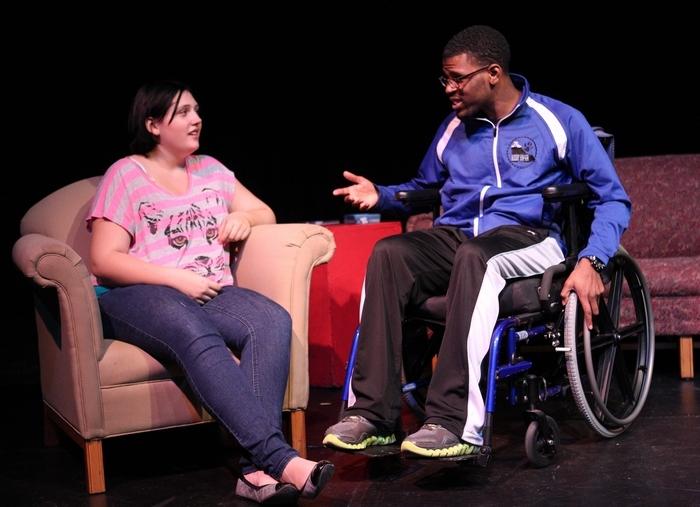 "Sharon Cantillon/Buffalo News Rebecca O'Brocta plays Susan and Alphonso Walker Jr. is Matt in Alleyway Theatre's ""Always October."""