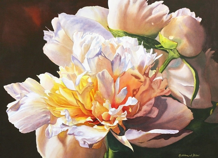 """Peonies in the Spotlight,"" a watercolor by Kathleen S. Giles, is part of her annual open studio event on Saturday and Sunday."