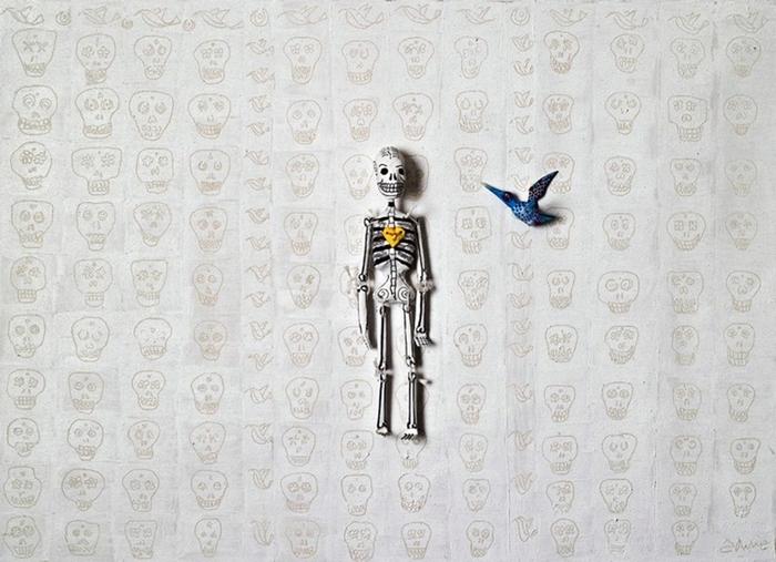 "Mexican artist Adelia Sayeg's mixed-media piece ""Ts'unu'un"" is part of Casa de Arte's annual Day of the Dead exhibition."