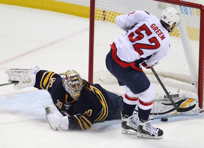 Ryan Miller stops the Capitals' Mike Green on the final shootout attempt to give the Sabres the 2-1 victory at the First Niagara Center. (Mark Mulville/Buffalo News)