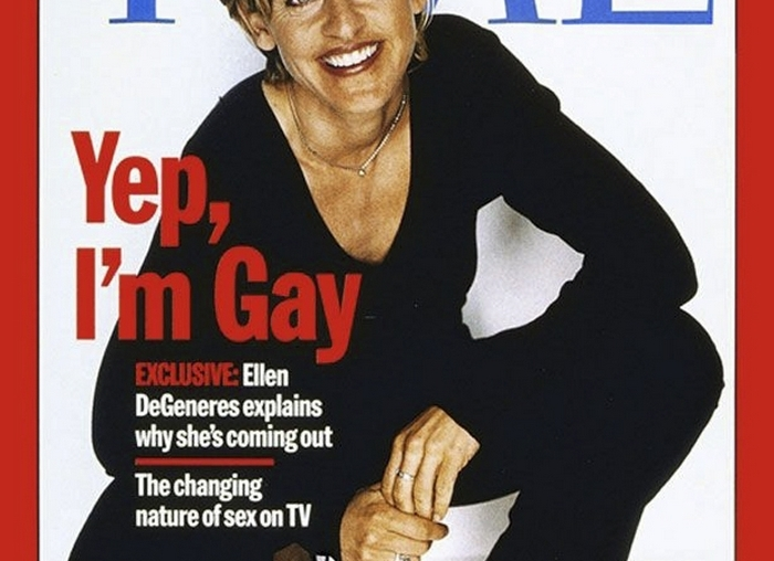 In an undated handout photo, the Time cover that proclaimed Ellen DeGeneres's coming out in 1997. DeGeneres, a hit on television and Twitter, will on March 2, 2014 become a two-time host of the Academy Awards. (Handout via The New York Times) — NO SALES; FOR EDITORIAL USE ONLY WITH STORY SLUGGED TV DEGENERES ADV19 BY BROOKS BARNES. ALL OTHER USE PROHIBITED. — PHOTO MOVED IN ADVANCE AND NOT FOR USE – ONLINE OR IN PRINT – BEFORE JAN. 19, 2014.