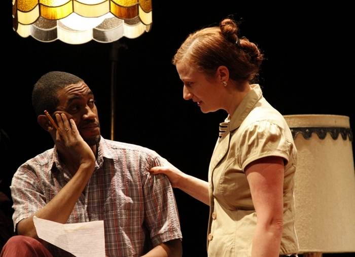 """Greg Howze and Kristen Tripp-Kelley appear in Mark Witteveen's play """"Very Fine Use of a Grenade,"""" running through Feb. 16 in the  Road Less Traveled Theatre."""