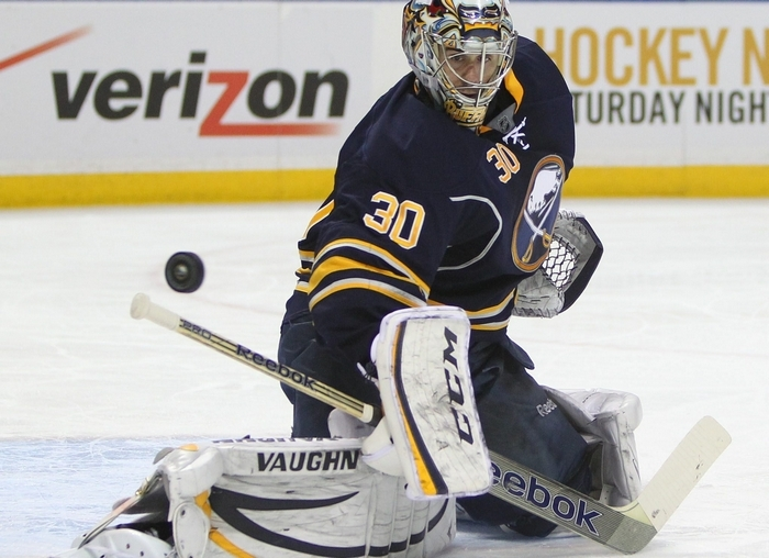 The Sabres' Ryan Miller makles a save in the second period at the First Niagara Center in Buffalo Sunday, December 29, 2013.  (Mark Mulville/Buffalo News)