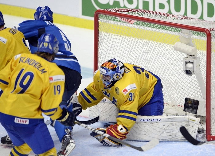 Sabres prospect Rasmus Ristolainen scores the game-winning in overtime to lift Finland past Sweden for the IIHF World Junior Hockey Championship. (Associated Press)