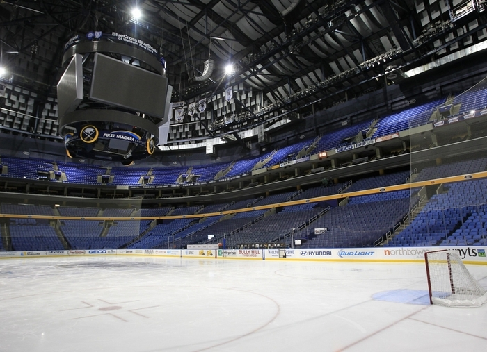 The First Niagara Center was empty on Tuesday, after the NHL decided to cancel the game between the Sabres and Hurricanes because of the blizzard. (Harry Scull Jr./Buffalo News)