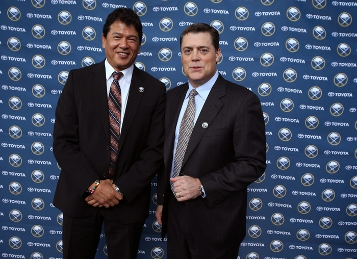 One of the biggest reasons Pat LaFontaine, right, hired Ted Nolan to be interim coach back in November is because he trusts that he is the right man to coach a young team. (Charles Lewis/Buffalo News)