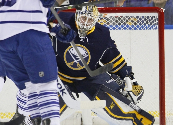 The Sabres' Jhonas Enroth, shown here in September, is headed for the Winter Olympics. (Mark Mulville/Buffalo News file photo)