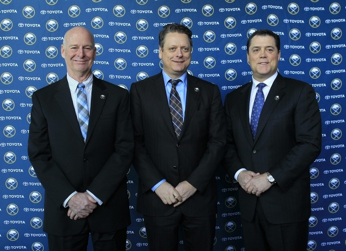 Pat LaFontaine, Sabres president of hockey operations, introduces new team GM Tim Murray, center, and Craig Patrick, left, newly appointed special adviser, at today's press conference. ((Harry Scull Jr./Buffalo News))