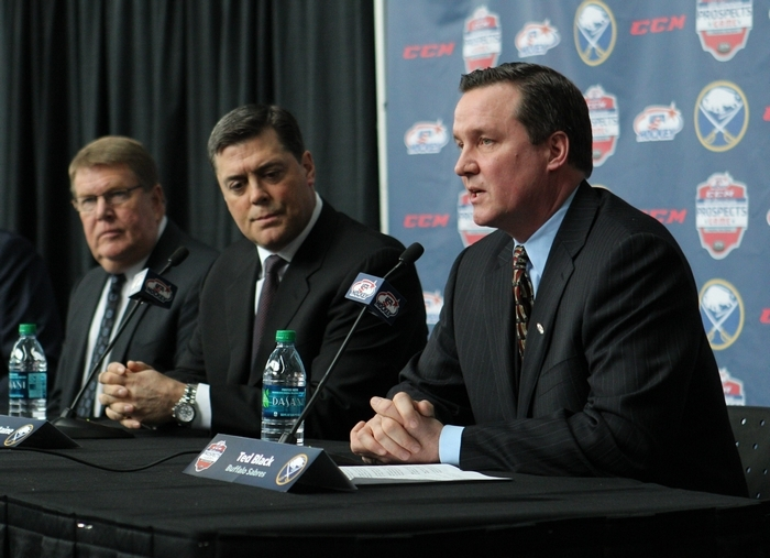 From left, Dave Ogrean, Executive Director of USA Hockey, Pat LaFontaine, Buffalo Sabres President of Hockey Operations and Ted Black, Buffalo Sabres President, announce the return of the Prospects Game. (Sharon Cantillon/Buffalo News)