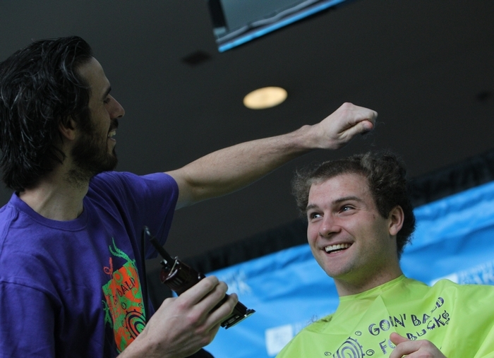 Five Sabres had their heads shaved after practice Monday for Goin' Bald for Bucks. Ryan Miller went straight down the middle while  shaving Cody Hodgson's head. (Sharon Cantillon/Buffalo News)