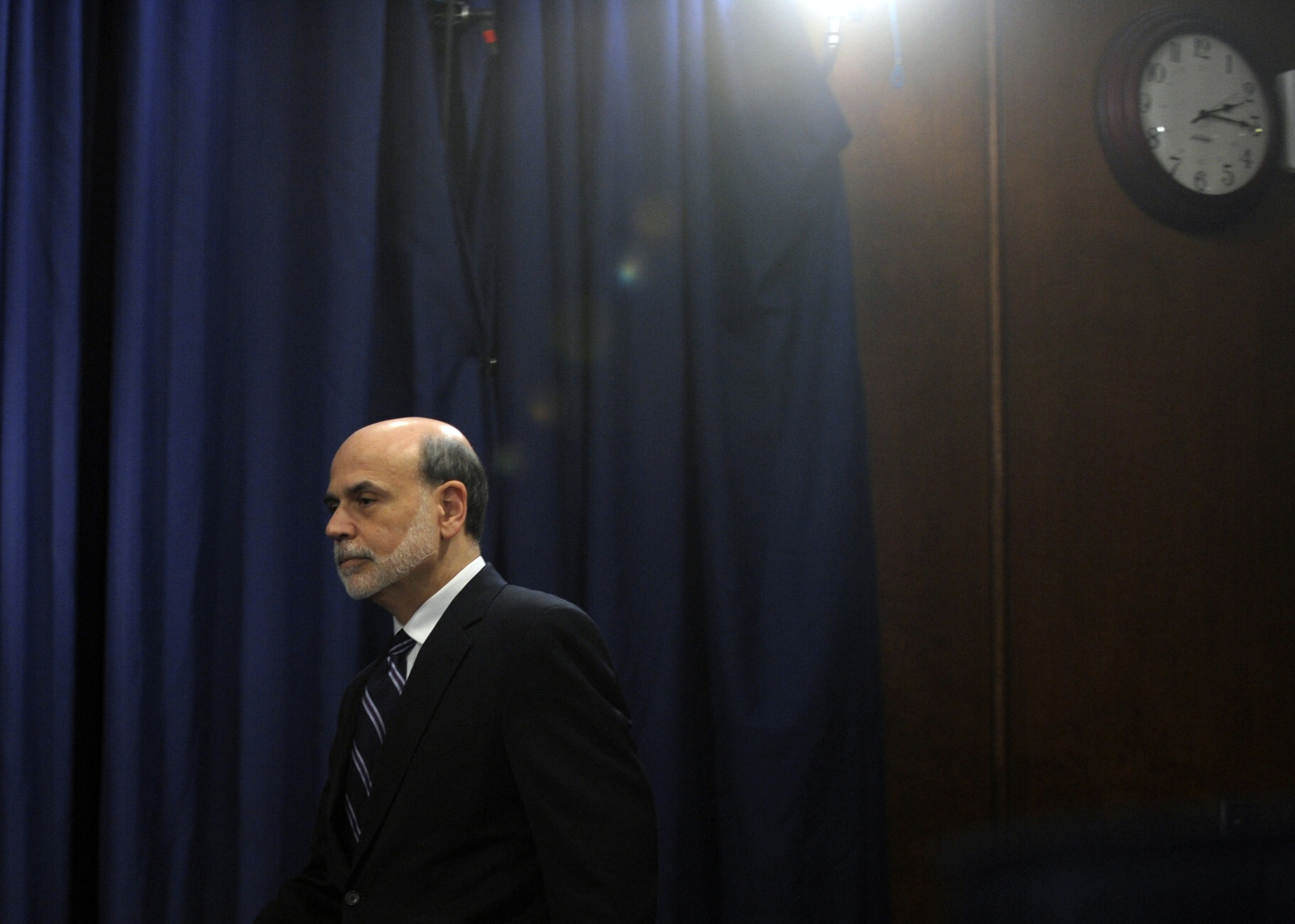 The era of Federal Reserve Chairman Ben Bernanke, shown  arriving for a news conference at the Federal Reserve in Washington in April 2012, has drawn to a close. Today is the final day of Bernanke's eight-year tenure .
